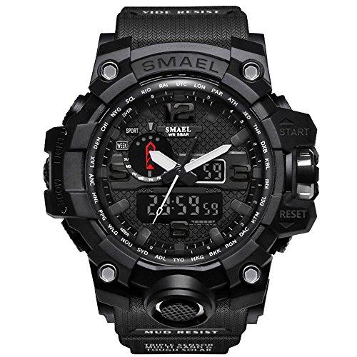 fomtty Reloj de hombre analógico y digital, reloj Led deportivo, impermeable reloj con cronómetro (negro)