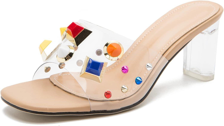 Women's Crystal Heeled Sandals Jeweled Slides