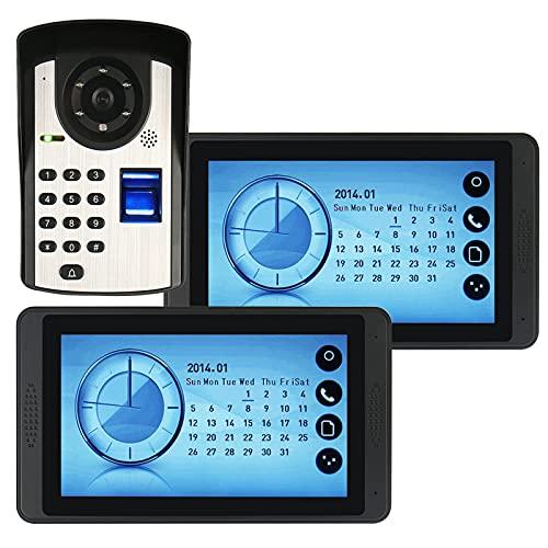 Timbre de video con contraseña de huellas dactilares, intercomunicador, teléfono con videoportero de 7 pulgadas con cable, 2 monitores de pantalla táctil + cámara de visión nocturna