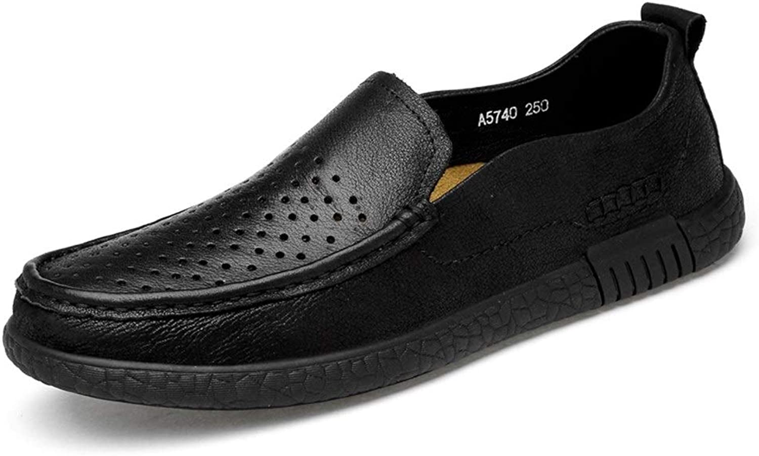 Easy Go Shopping Driving Loafer For Men Business Boat Moccasins Slip On OX Leather Round Toe Cricket shoes (color   Black Hollow, Size   9.5 UK)