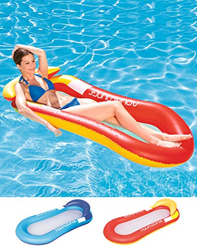 Cozywind Colchoneta Hinchable Piscina Flotador Inflable,Tumbona Hinchable de Playa,Sofá Hinchable Plegable con Almohada(Rojo)