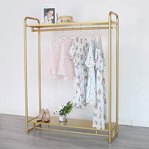 Estante de ropa de oro moderno con estante de 2 niveles de metal completo para ropa de múltiples usos colgando estante para el hogar y la venta al por menor