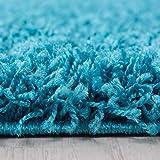Hochflor Shaggy Teppich für Wohnzimmer Langflor Pflegeleicht Schadsstof geprüft 3 cm Florhöhe Oeko Tex Standarts Teppich, Maße:140x200 cm, Farbe:Türkis - 2