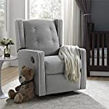 Baby Relax Mikayla Swivel Glider Recliner Chair, Gray Linen