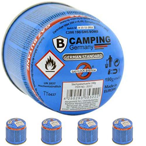 4 X Butan Gas Kartuschen 190gr. für Campinggrill Campingkocher Gasgrill Gaskocher