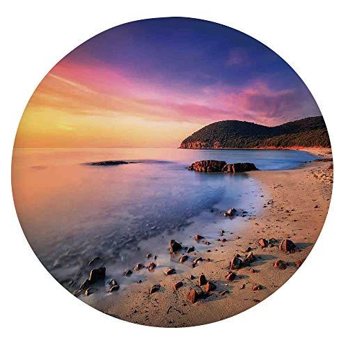 Funda de mesa ajustable de poliéster con bordes elásticos, famoso sol mediterráneo en la playa con guijarros turísticos serenos, para mesas redondas de 45 a 48 pulgadas, para comedor y fiestas.