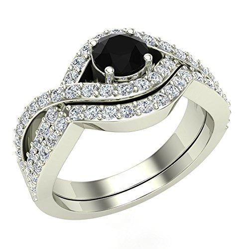 Glitz Design Juego de Anillos de Boda con Diamantes de Cruz en Blanco y Negro con Banda de 1,10 Quilates de Peso Total de Oro de 14 Quilates