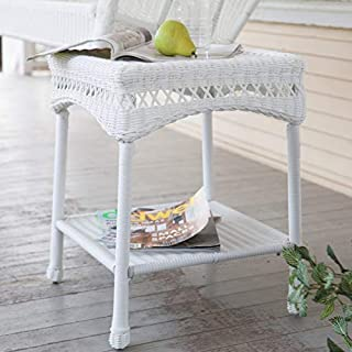 Classic White Resin Wicker Patio Side Table with Lower Shelf Outdoor Accent End Table Patio Furniture