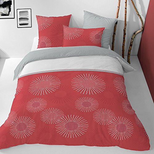 Matt & Rose Style Zénith, Coton, Blush-Argent à PP Blanc, 240x220 cm