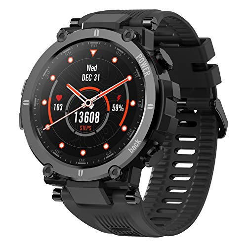 KOSPET Raptor Smart Watch for Men, 1.3' Outdoor Smartwatch with 20 Sports Modes, Ultra Light Fitness Tracker with Rugged Body, 30 Days Standby, IP68 Waterproof, Compatible with iOS Android, Black