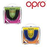 Opro Snap-Fit Junior Lot de 2 protège-Dents Enfants, pour Rugby, Hockey, MMA - Bleu + Blanc