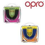 Opro Snap-Fit Junior Lot de 2protège-Dents Enfants, pour Rugby, Hockey, MMA - Bleu + Blanc