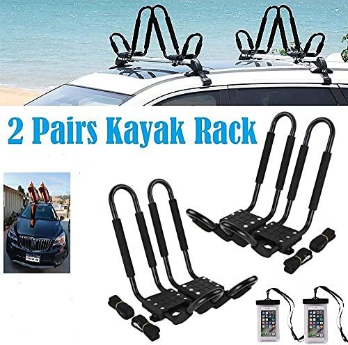 SMARTENPLUS Universal Kayak Rack Holder J Bar , 2 pairs-Bar HD Kayak Rack Carrier Canoe Boat Surf Ski Roof Top Mount Car SUV Crossbar