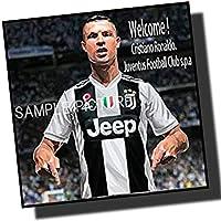 クリスティアーノ・ロナウド ユベントスFC「WELCOME!」 海外サッカーグラフィックアートパネル 木製 壁掛け インテリア ポスター