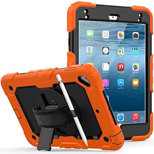 Lobwerk Funda 4 en 1 para Apple iPad Mini 4/5 de 7,9 pulgadas, con protector de pantalla, correa de mano, correa para el hombro, color naranja