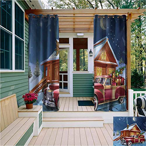 Christmas Thermal Insulated Outdoor Curtain Wooden Lodge with Classic American Truck and Tree Gifts Starry Sky Winter Snow Bathroom Curtain W63 x L72 Inch Multicolor