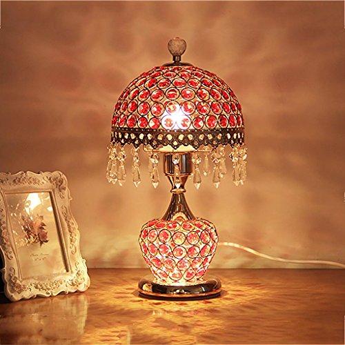 XINYE LED Cristal Lampe de table Créatif Lampe de chevet Double Commutateur Conception avec Métal Base, Red