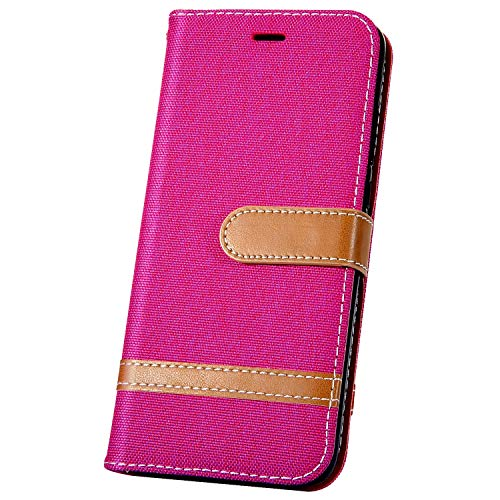 JAWSEU Compatible avec LG K50/Q60 Coque Portefeuille PU Étui Cuir à Rabat Magnétique Mode Denim Couleur de Épissure Ultra Mince Stand Leather PU Flip Wallet Case,Rose Rouge