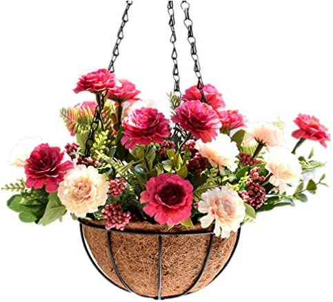 Mynse Atiificial Peony Flowers Hanging Basket for Home Balcony Outdoor Christmas Decoration product image