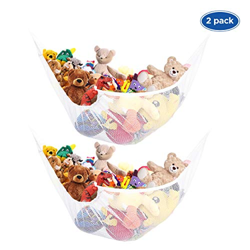 ETCBUYS Toy Storage Mesh Hammock Toy Storage Neatly Organize Net for Stuffed Animals and Children's Toys Great Décor Multiplace-Use – Blue – Pack of 2 (2-White)