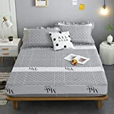XGguo Protector de colchón - Protector de colchón antialérgico Sábana Impermeable de una Sola Pieza a Prueba de orina y transpirable-19_120x200cm + 25cm