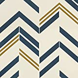 Timeet Blue and Gold Wallpaper Chevron Stripe Peel and Stick Wallpaper Blue Contact Paper 17.7'×118.11' Self Adhesive Wallpaper Removable Decorative Wallpaper for Bedroom Living Room