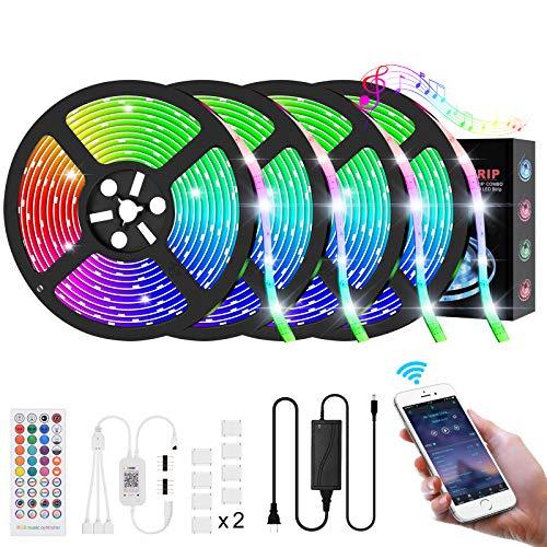 RGB LED Strip 20M(4x5M), Midore Bluetooth LED Streifen 450 Leds Bänder Dimmbar IP65 Wasserdicht Lichtband mit 40-Tasten Fernbedienung, Selbstklebend LED Stripes Kit für Beleuchtung Deko