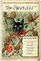 RCY-T The Black Cat 金属錫サイン Wall Plaque Retro Coffee Shop Bar Club Pub Decoration Poster Art Decor tin Painting 8x12 inch-Sign7-12x8 inch