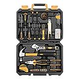 DEKO Juego de herramientas para reparaciones en el hogar de 100 piezas, kit de herramientas de mano para el hogar en general con almacenamiento de cajas de herramientas de plástico
