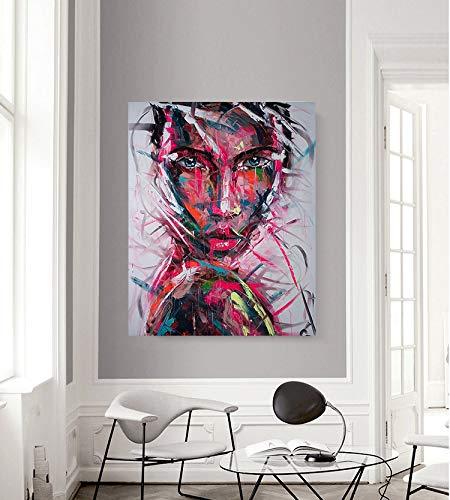 Moderne Bunte Kunst Graffiti Frau Leinwand Dekoration Wandkunst Bild für Hauptdekoration,Rahmenlose Malerei-40X50cm