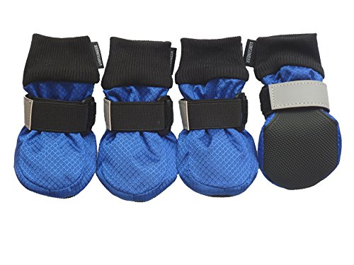LONSUNEER Winter Paw Protector Dog Boots Waterproof Soft Sole and Nonslip Set of 4 Color Blue Size Medium
