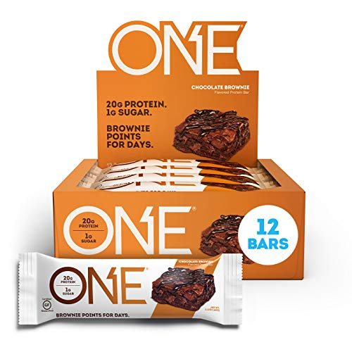 ONE Protein Bars, Chocolate Brownie, Gluten Free Protein Bars with 20g Protein and only 1g Sugar,...