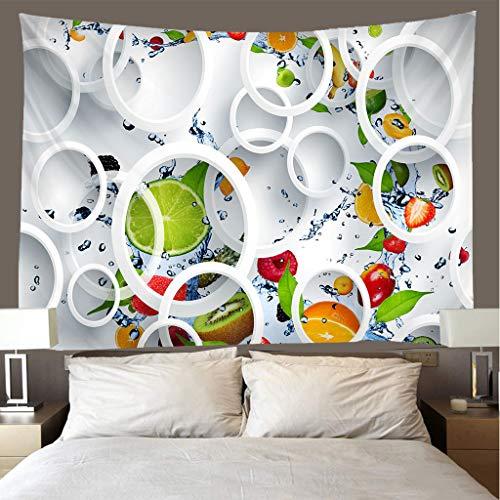 JMHomeDecor Tapiz Impresión 3D Creativo Geometría De Fruta Fresca Funda De Cama Portátil Ligera Colgante De Pared Multifunción 220 (H) X240 (W) Cm