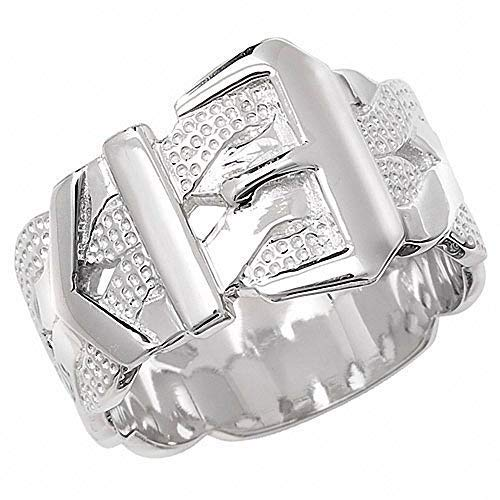 Men's Buckle Ring Heavy Solid Sterling Silver Patterned Gents Band (P)