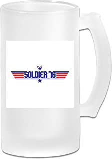 Printed 16oz Frosted Glass Beer Stein Mug Cup - Topgun Soldier 76 Ov-erwatch - Graphic Mug
