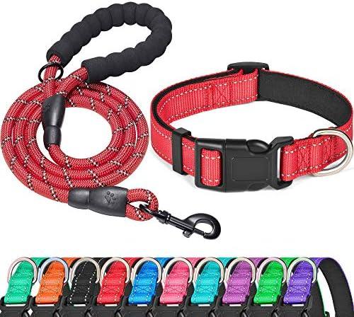 Ladoogo Reflective Dog Collar Padded with Soft Neoprene Breathable Adjustable Nylon Dog Collars product image