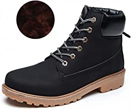 Tebapi Mens Backpacking Boots Mens Boots Autumn Winter Pu Leather Unisex Style Plush Keep Warm Men Outdoors Shoes Martin Motorcycle Boots