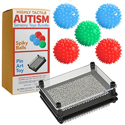 Autism Toys Kids (Highly-Tactile) Stimming Alternative Bundle for Autistic Children – ASD Child Boys Girls Teens - Calming Stress Pin Art and Spiky Balls - Sensory Stimulation Product Tool Item
