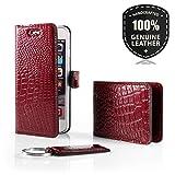 SURAZO Cayme - Leder Geschenkset Handy Schutzhülle, Card Holder, Schlüsselring - Farbe Rot Vintage Kollektion für Samsung Galaxy S4 Mini