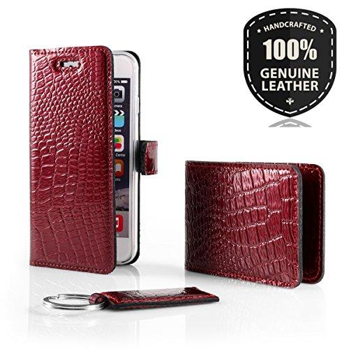 SURAZO Cayme - Leder Geschenkset Handy Schutzhülle, Card Holder, Schlüsselring - Farbe Rot Vintage Kollektion für Huawei P8 Lite 2015 (5,0 Zoll)