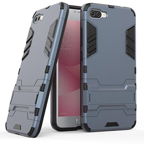 Hülle für Asus ZenFone 4 Max ZC554KL (5,5 Zoll) 2 in 1 Hybrid Dual Layer Shell Armor Schutzhülle mit Standfunktion Hülle (Blau Schwarz)