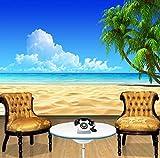 Papel tapiz 3D Modern Simple Playa Azul Cielo Coco Palma Foto Mural de la pared Comedor del hotel Sala de estar Telón de fondo Decoración Frescos, 150 × 105 cm