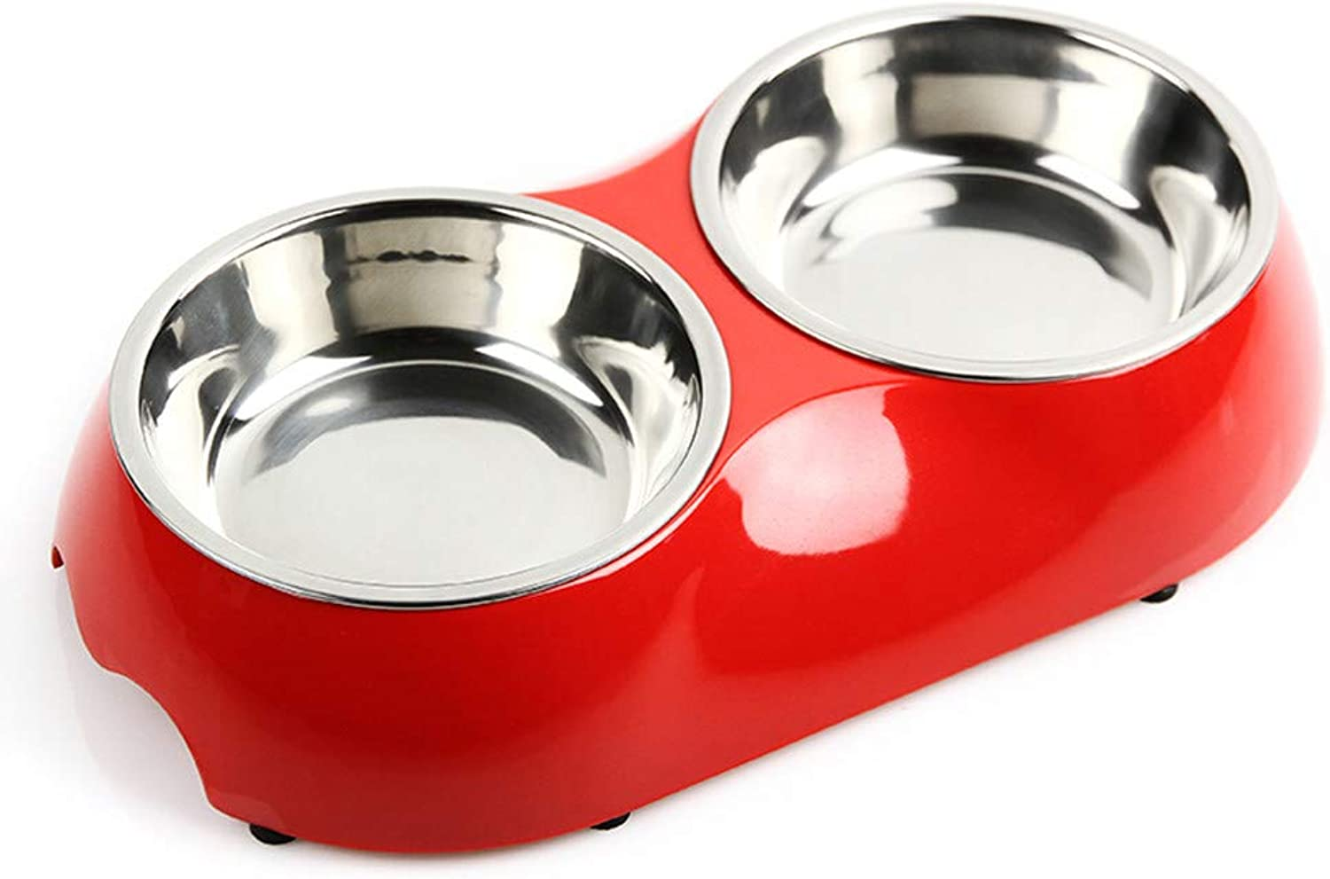 FOREVERYOU Pet Dog cat Stainless Steel Bowl Water Bowl Double AntiSlip, red