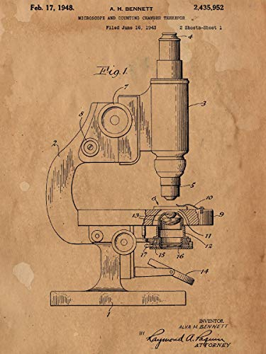 Antique Microscope Patent Print Art Drawing Poster Microscope Antique Patent Vintage Texture 24x36