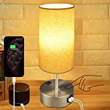 Touch Control Bedside Lamp,Hansang 3-Way Dimmable Table Lamp with Dual USB Charging Ports,Modern