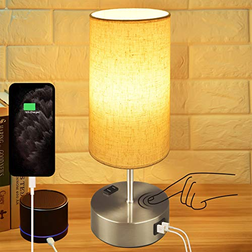 Touch Control Bedside Lamp,Hansang 3-Way Dimmable Table Lamp with Dual USB Charging...