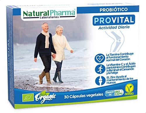 NaturalPharma Probiótico Ecológico ProVital. Madurez Activa y Saludable. Vitamina C + Vitamina B1 + Vitamina B5 + Zinc. Cápsulas Smart BioCaps. (Sin Gluten, Sin Lactosa, Vegano).