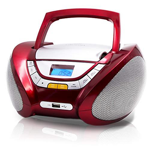 Lauson Radio Lecteur CD | Portable | USB | Radio Stéréo CD Lecteur MP3 pour Enfant | Chaîne stéréo | Prise Casque | Aux in - Écran LCD - Batterie et Alimentation électrique | CP442 (Rouge)
