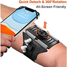 VUP Upgraded Running Armband Detachable & 360°Rotation with AirPods/AirPods Pro Holder Phone Armband for iPhone, Samsung, All Screen Friendly Fits All 4-7 Inch Smartphones for Running Biking (Black)