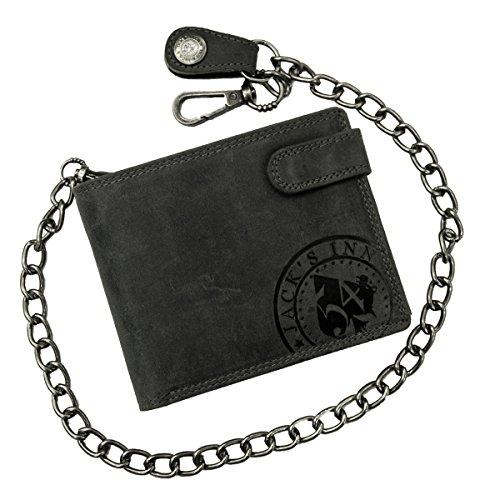 Jack's Inn 54 Rock Hard Styles Vesper - Cartera con cadena (formato apaisado), Negro vintage (Negro) - LT54123-01